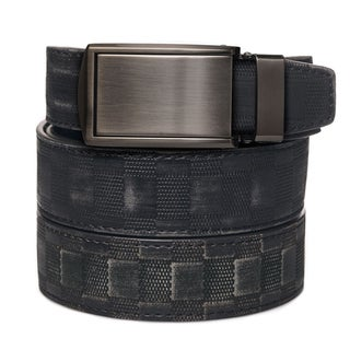 Black Distressed Checkered Leather Gunmetal Buckle Ratchet Belt