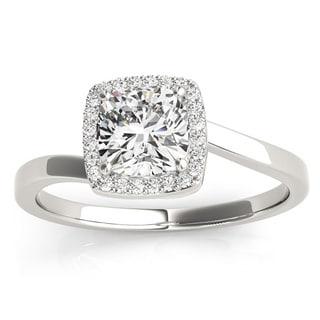 Transcendent Brilliance 14k White Gold 7/8 TDW White Diamond Square Halo Engagement Ring