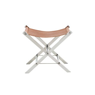 Ryder Tan Stainless-steel and Leather Stool