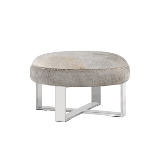 Sunpan Rhea Metal and Cowhide Ottoman