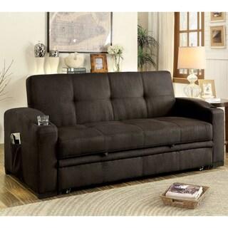 Furniture of America Melani Contemporary Tufted Multi-functional Brown Futon Sofa