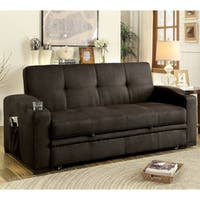 Furniture of America Melani Contemporary Tufted Multi-functional Brown Futon Sofa