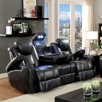 Furniture of America Serafin Power-Assisted Dark Grey  Leatherette Reclining Sofa