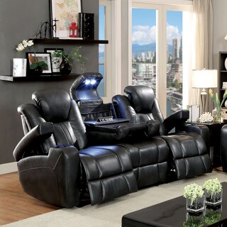 Furniture of America Serafin Power-Assisted Dark Grey Leatherette Reclining Sofa