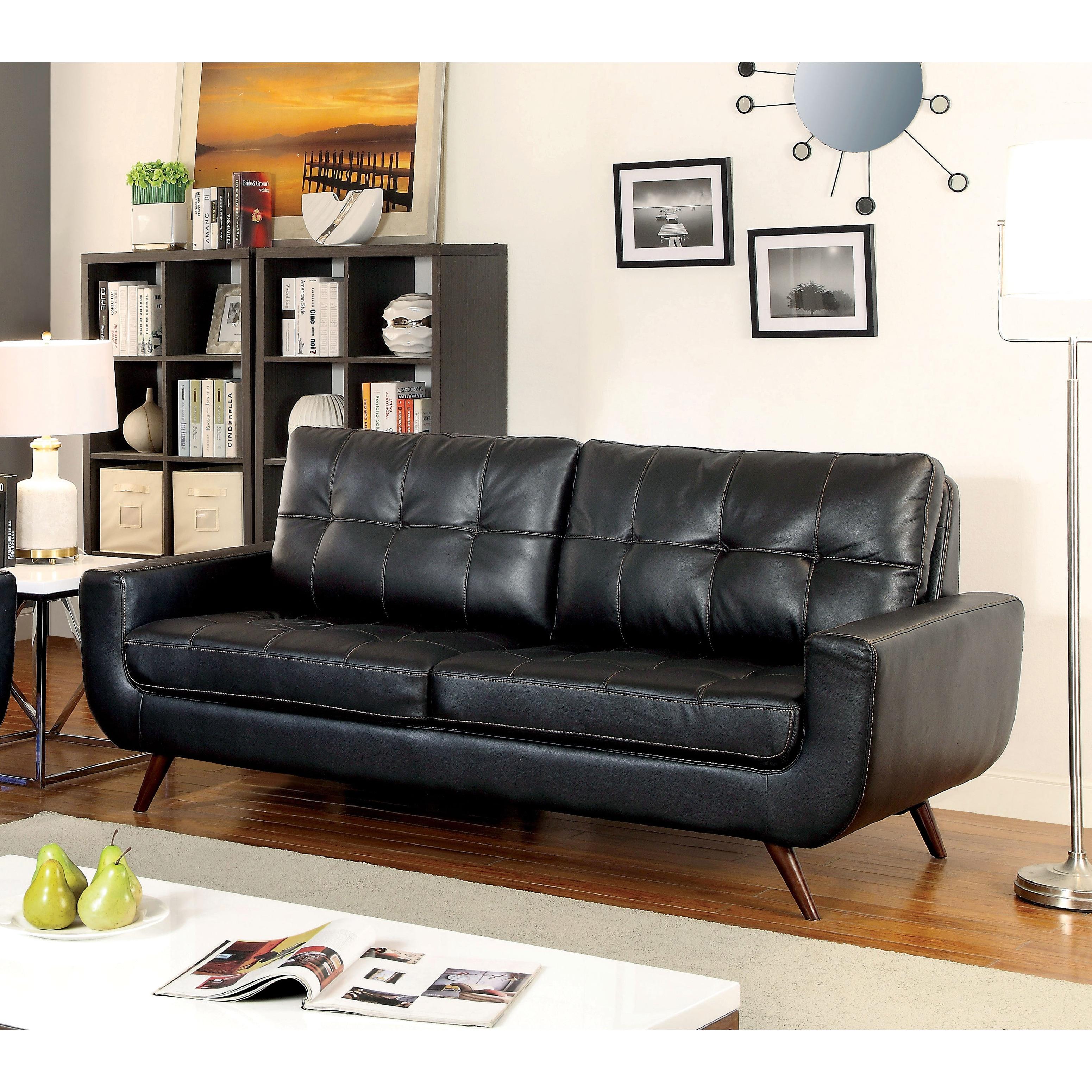Furniture Of America Garcia Mid Century Modern Tufted Leather Gel Black Sofa