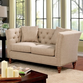Furniture of America Cerona Contemporary Tuxedo Style Beige Tufted Linen Loveseat