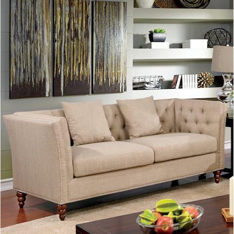 Cerona Contemporary Beige Tufted Tuxedo Sofa by FOA