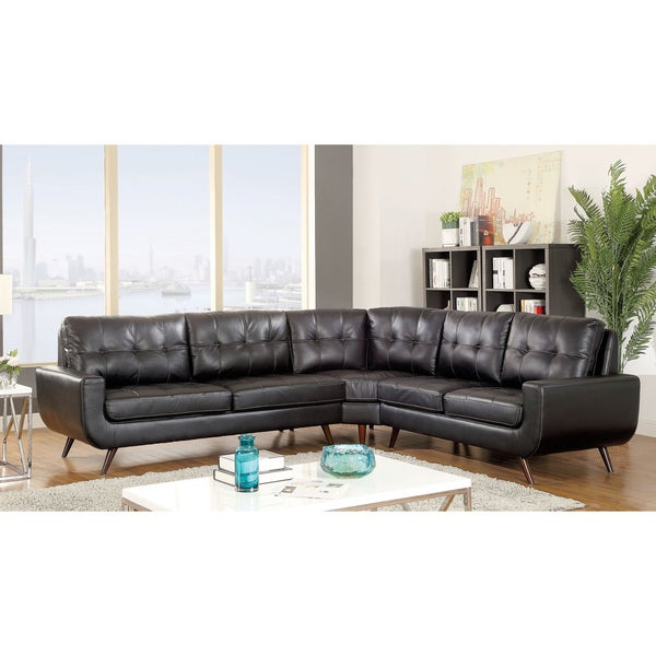 Shop Furniture Of America Garcia Mid Century Modern Tufted Leather