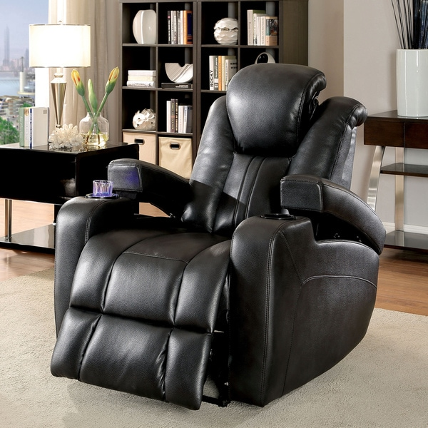 Furniture of America Weer Contemporary Grey Faux Leather Recliner