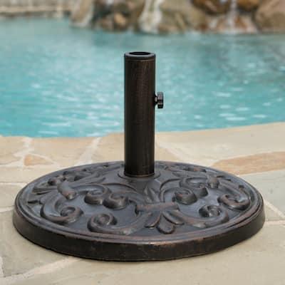 Gobi Outdoor 25-pound Round Bronze Steel Umbrella Base Holder by Christopher Knight Home