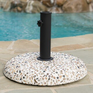 Sahara Outdoor 45-pound Round Multi-Color Stone Concrete Umbrella Base Holder by Christopher Knight Home