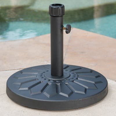 Loyang Outdoor 25-pound Round Black Steel Umbrella Base Holder by Christopher Knight Home