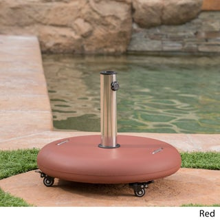 Hayward Outdoor 80-pound Round Black Stainless Steel Umbrella Base Holder with Wheels by Christopher Knight Home