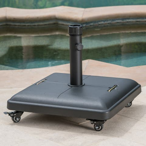 Hayward Outdoor 80-pound Square Black Steel Umbrella Base Holder with Wheels by Christopher Knight Home