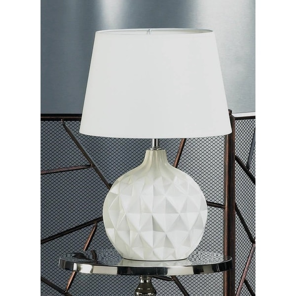 Diamond Shaped White Ceramic Table Lamp