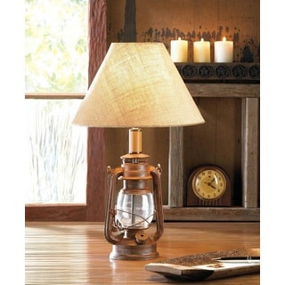 Old Fashioned Table Lamp with Burlap Shade