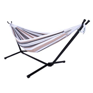 Portable Coffee Stripe Pattern Polyester Hammock Set