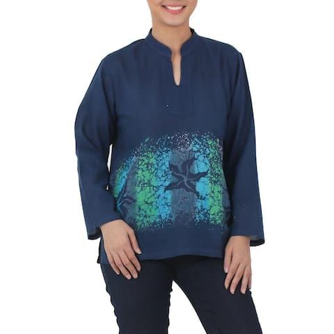 Handmade Cotton 'Deep Sea' Batik Blouse (Thailand)