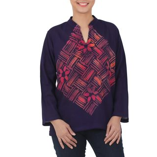 Handmade Cotton 'Woven Blossom' Batik Blouse (Thailand) (5 options available)