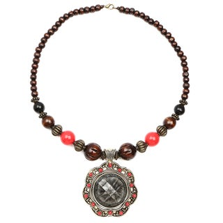 Liliana Bella Oxidized Gold-plated Brown Wood Bead Grey Glass Stone Floral Necklace