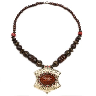 Liliana Bella Oxidized Goldplated Red and Brown Wooden Bead Necklace with Red Glass Stone