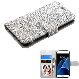 Insten Leather Rhinestone Bling Case Cover with Wallet Flap Pouch/ Photo Display For Samsung Galaxy S7