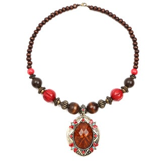 Liliana Bella Oxidised Goldplated Red Wooden Beaded Brown Glass Stone Necklace