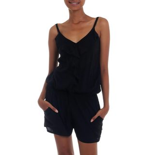 Handmade Rayon 'Borneo Nights' Romper (Indonesia)