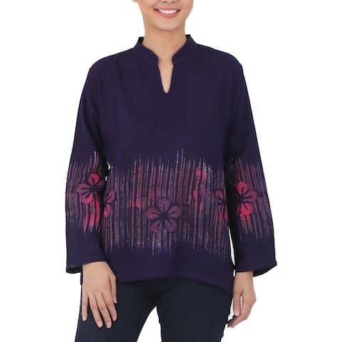 Handmade Cotton 'Violet Frangipani' Batik Blouse (Thailand)
