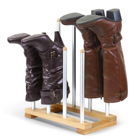 INNOKA 4-Pair New Modern Standing Wooden/ Aluminum Boot Rack Organizer Shape Preserver for Riding Boots/ Rain Boots/ Shoes