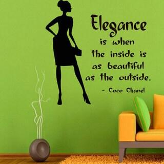 Shop Quotes Elegance Beauty Salon Beauty Shop Vinyl Sticker Decal Home Decor Interior Design Sticker Decal Size 48x48 Color Black Overstock 14568498