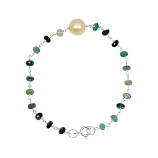 Orchid Jewelry Solid Sterling Silver 11ct Pearl and Emerald Beaded Bracelets