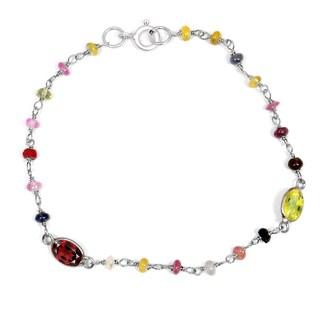 Orchid Jewelry Solid Sterling Silver 4 5/9ct Garnet, Lemon Quartz and Multi Sapphire Beaded Bracelets