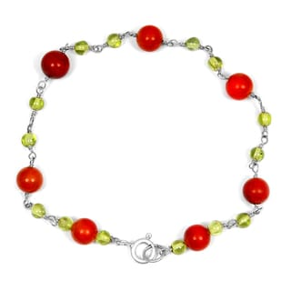 Orchid Jewelry Solid Sterling Silver 10 4/5ct Red Jasper and Peridot Beaded Bracelets