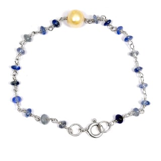 Orchid Jewelry Solid Sterling Silver 6ct Pearl and Sapphire Beaded Bracelets