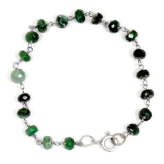 Orchid Jewelry Solid Sterling Silver 11ct Emerald Beaded Bracelets