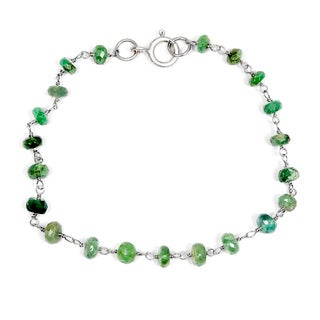 Orchid Jewelry Solid Sterling Silver 8ct Emerald Beaded Bracelets