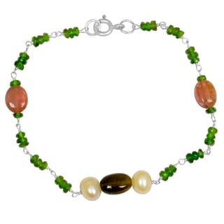 Orchid Jewelry Solid Sterling Silver 11 3/5ct Pearl, Tourmaline and Chrome Diopside Beaded Bracelets