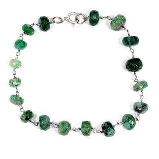 Orchid Jewelry Solid Sterling Silver 21 3/5ct Emerald Beaded Bracelets