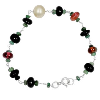 Orchid Jewelry Solid Sterling Silver 29ct Pearl, Multi Tourmaline and Emerald Beaded Bracelets