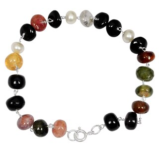 Orchid Jewelry Solid Sterling Silver 49 4/5ct Pearl and Multi Tourmaline Beaded Bracelets