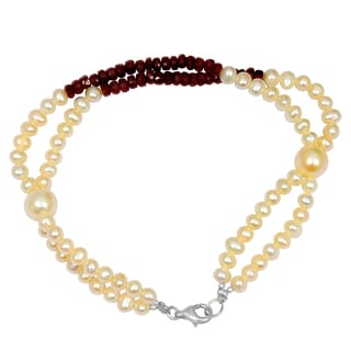 Orchid Jewelry Solid Sterling Silver 44ct Pearl and Ruby Beaded Bracelets