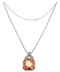 Icz Stonez SS Champagne and Clear CZ Fashion Pendant