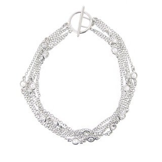 Icz Stonez Sterling Silver CZ Five-strand Toggle Bracelet