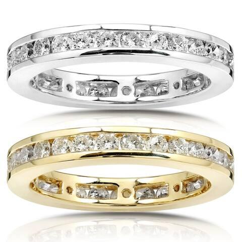 Annello by Kobelli 14k Gold 1ct TDW Round Diamond Channel Set Eternity Wedding Ring - White G-H