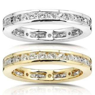 Link to Annello by Kobelli 14k Gold 1ct TDW Round Diamond Channel Set Eternity Wedding Ring - White G-H - White G-H Similar Items in Wedding Rings