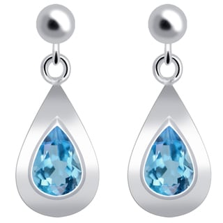 Orchid Jewelry Solid Sterling Silver 1 3/7ct Pear-cut Blue Topaz Earrings