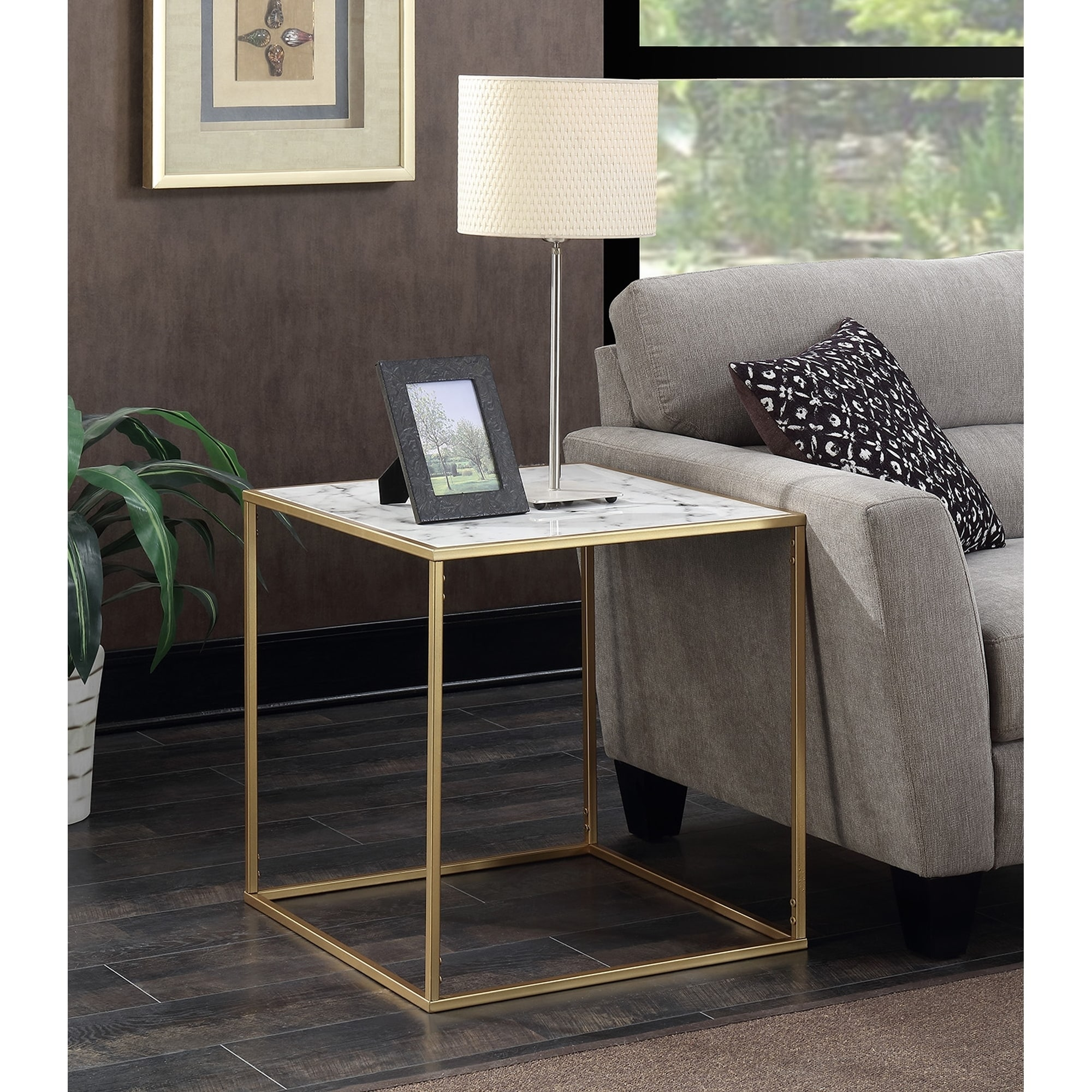 Faux White Marble Coffee Table Set: Shop Convenience Concepts Gold Coast Faux Marble End Table