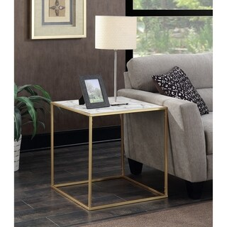 Silver Orchid Hasmik Square Faux Marble End Table