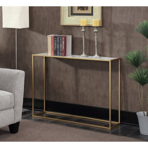 Silver Orchid Hasmik Rectangular Faux Marble Console Table